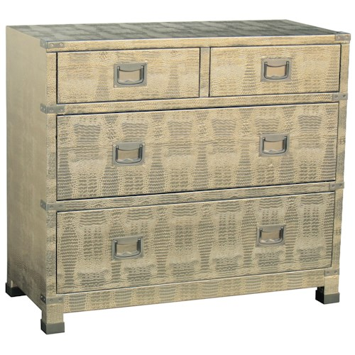 Pulaski Furniture Accents 4 Drawer Accent Chest with Gold Tones
