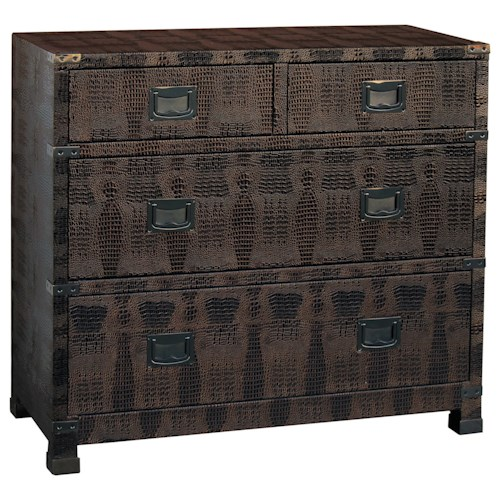Pulaski Furniture Accents 4 Drawer Bronze Lame chest in Faux Animal Hide