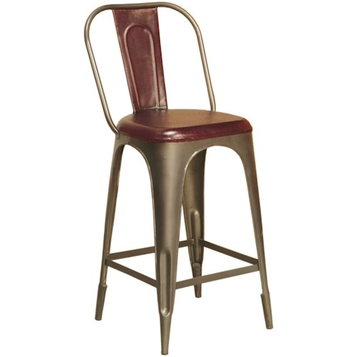 Pulaski Furniture Accents Rowan Bar Stool with Formed Leather