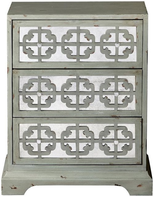 Pulaski Furniture Accents 3 Drawer Amandari Accent Chest with Mirrored Drawers