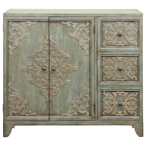 Pulaski Furniture Accents Sula Bar Cabinet with Aqua Colored Interior