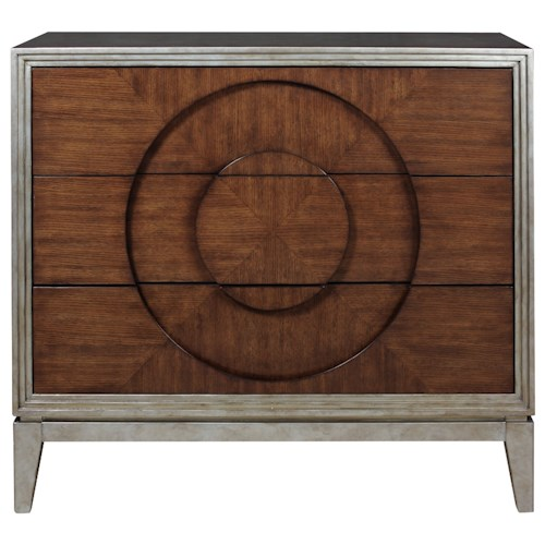 Pulaski Furniture Accents 3 Drawer Zelen Accent Chest with Carved Circle for Pulls