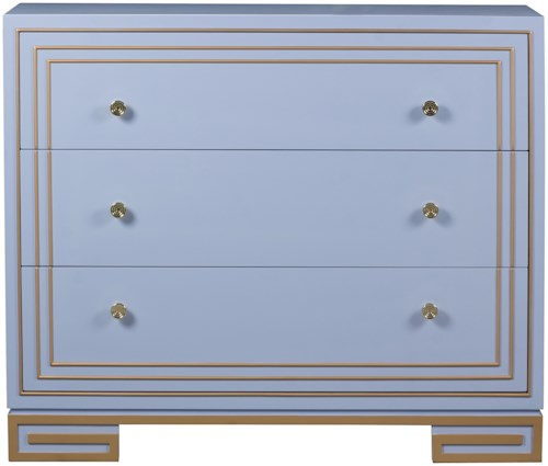 Pulaski Furniture Accents 3 Drawer Aria Accent Chest with Gold Highlights
