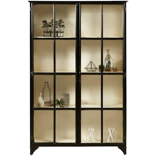 Pulaski Furniture Accents Metal Display Cabinet in Matte Black Finish