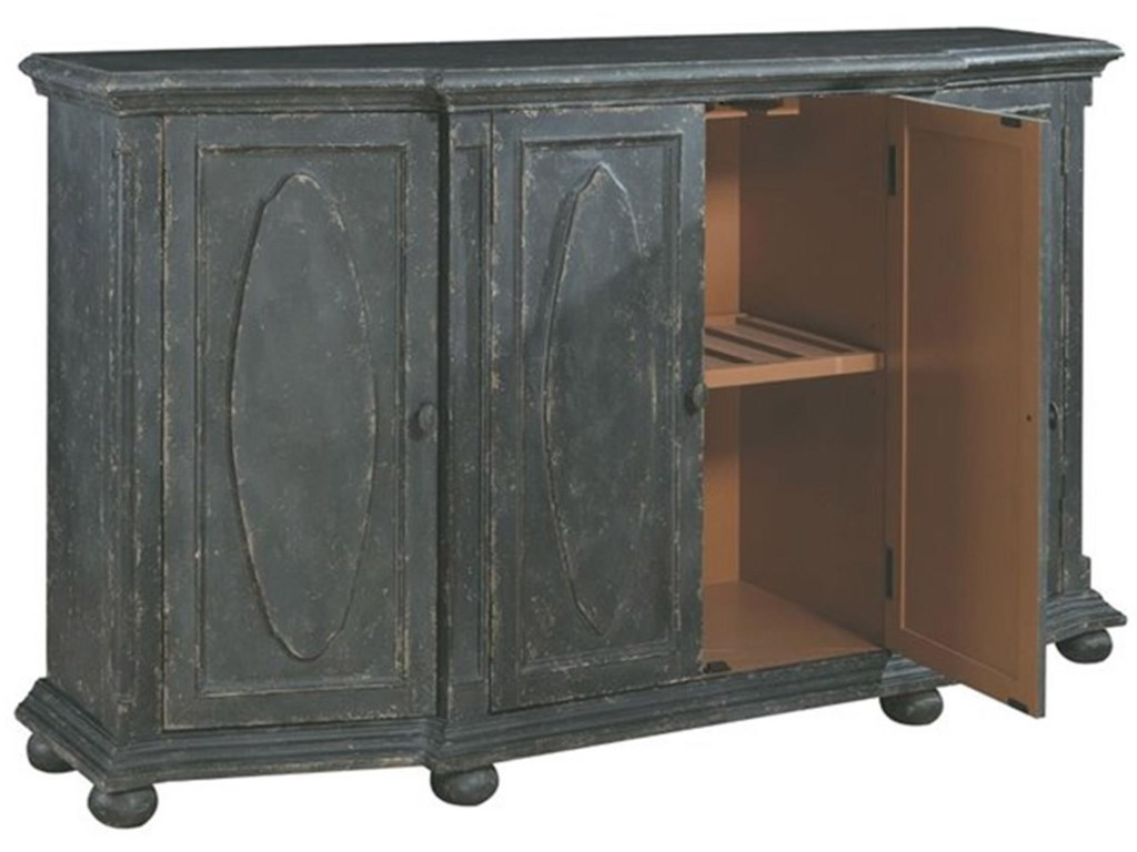 Pulaski Furniture AccentsBlack Distressed Cabinet with Hidden Wine Bo