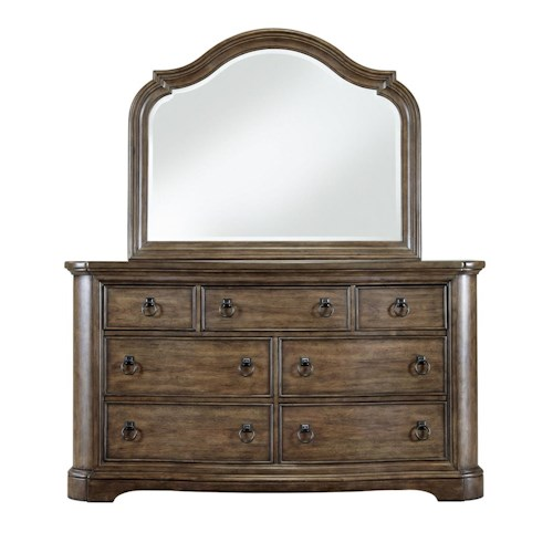 Pulaski Furniture Aurora Traditional Seven Dresser and Mirror Set