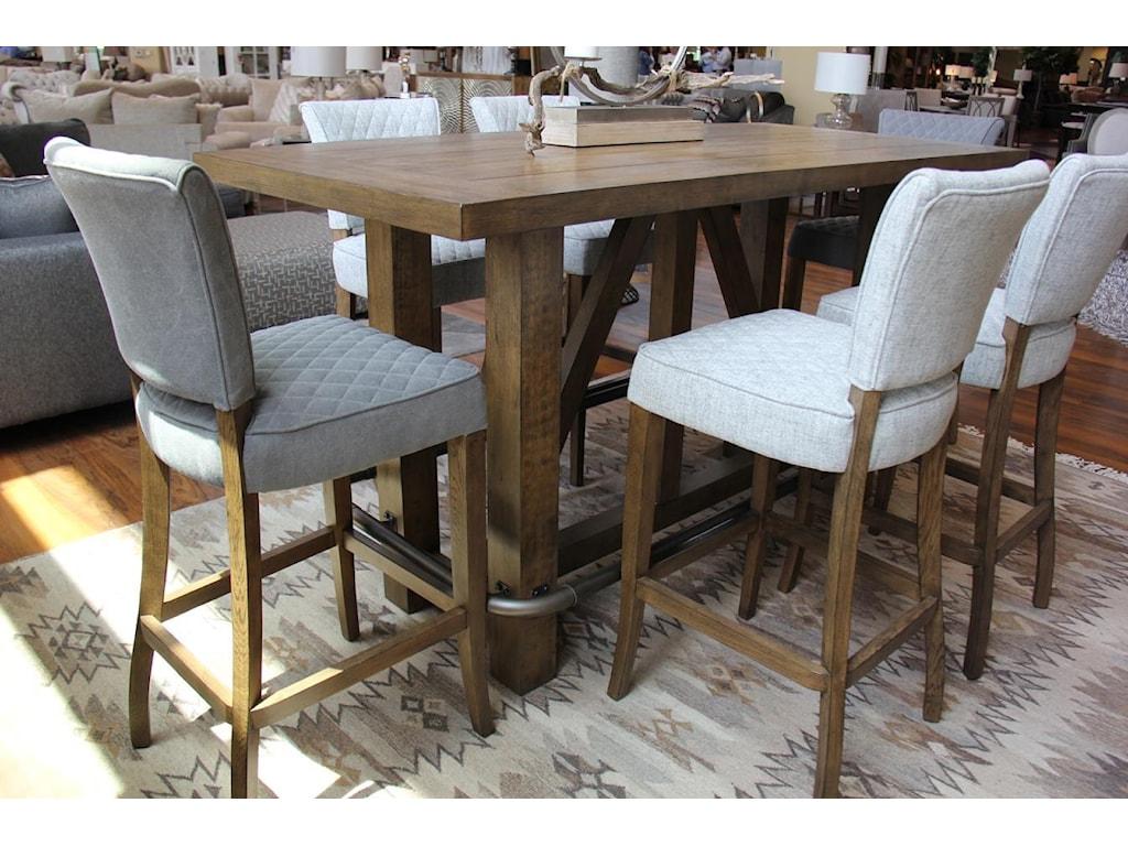 Pulaski Furniture Bars and BarstoolsBar & 6 Grey Quilted Stool Set