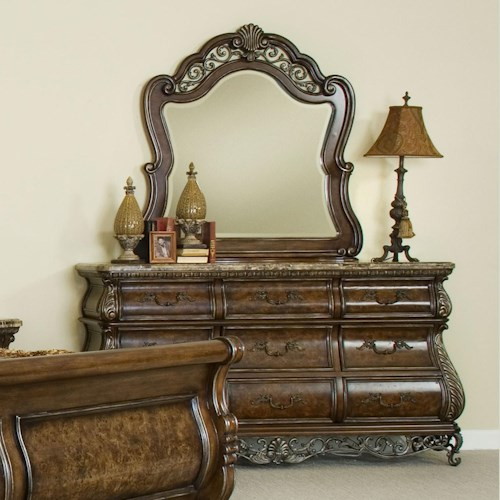 Pulaski furniture birkhaven nine drawer dresser mirror for Furniture 500 companies
