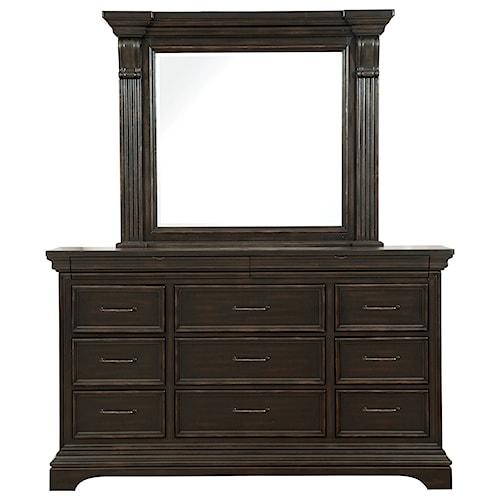 Pulaski Furniture Caldwell 11 Drawer Traditional Dresser and Mirror Combo