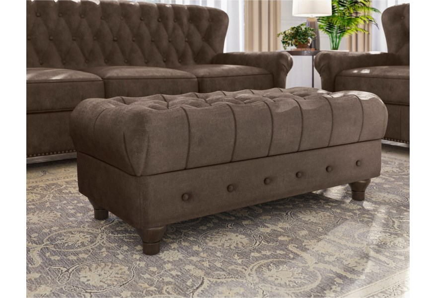 Pulaski Furniture Charlie Traditional Cocktail Ottoman With Button Tufting Jacksonville Furniture Mart Ottomans