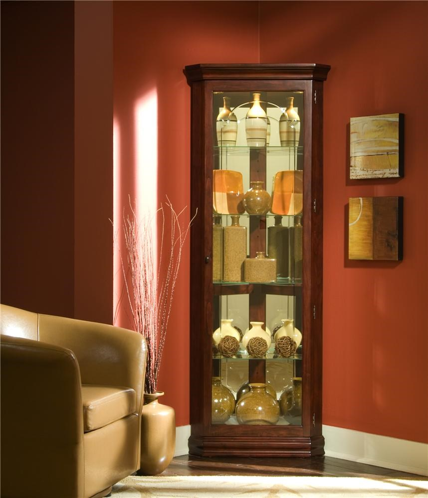 Curios Victorian Cherry Corner Curio By Pulaski Furniture