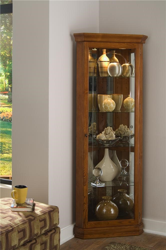 Superbe Curios Golden Oak II Corner Curio By Pulaski Furniture