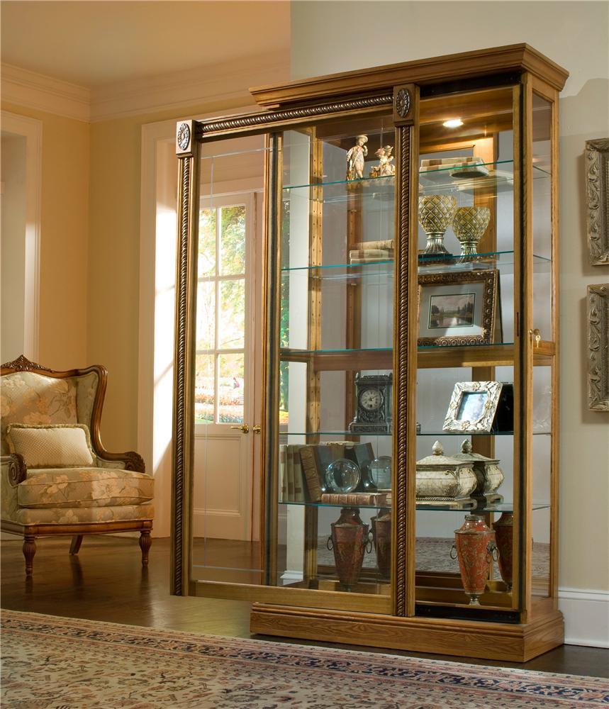 Pulaski Furniture Curios Estate Oak Two Way Sliding Door Curio Howell Furniture Curio Cabinets
