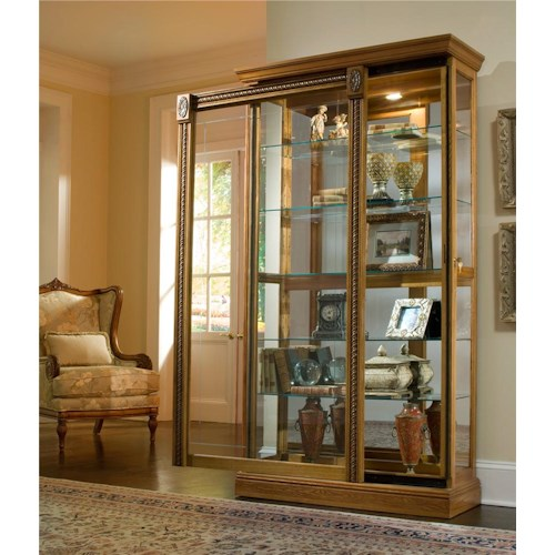 Pulaski Furniture Curios Estate Oak Two Way Sliding Door Curio
