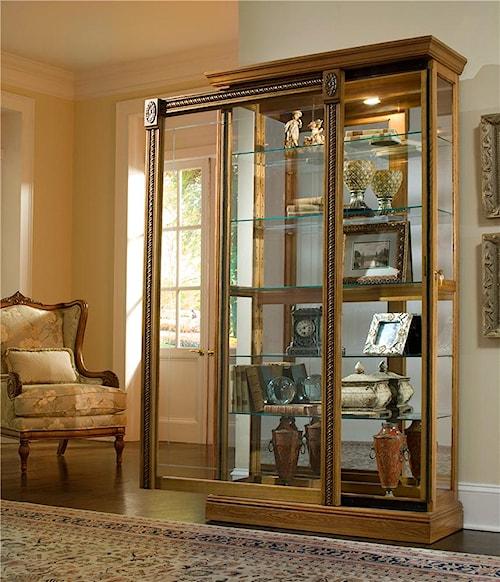 Pulaski Furniture Curios Estate Oak Two Way Sliding Door Curio