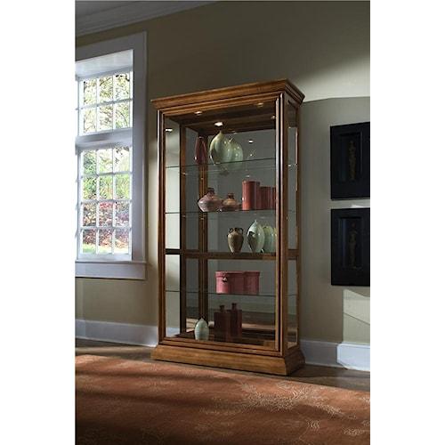Pulaski Furniture Curios Golden Oak Two Way Sliding Door Curio