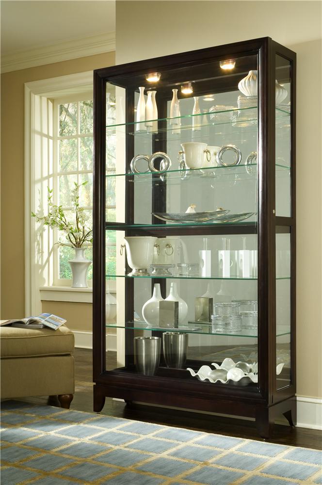 Pulaski Furniture Curios Chocolate Cherry Two Way Sliding Door Curio Wayside Furniture Curio Cabinets