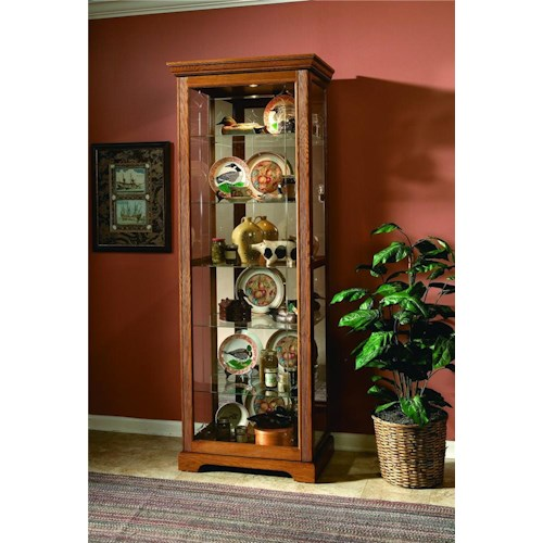Pulaski Furniture Curios Golden Oak III Two Way Sliding Door Curio