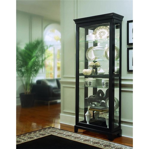 Pulaski Furniture Curios Oxford Black Two Way Sliding Door Curio