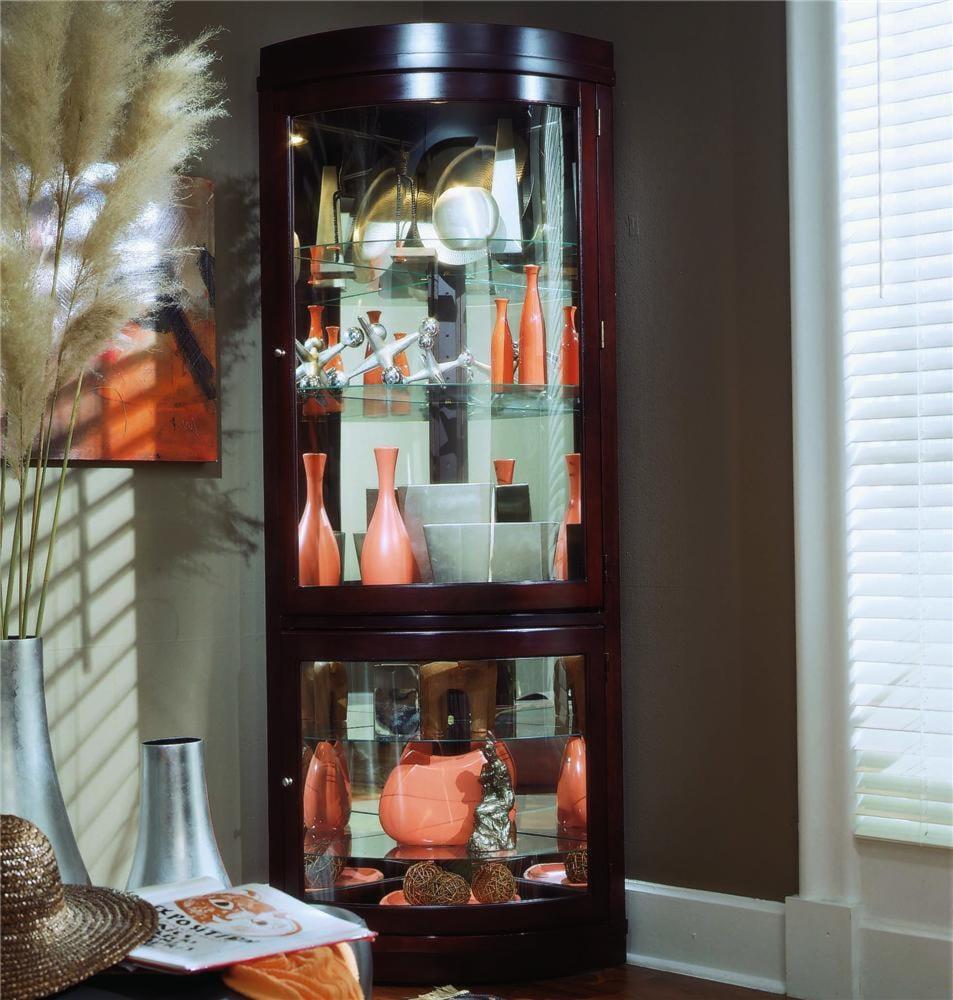 pulaski furniture curios corner curio cabinet - baer's furniture