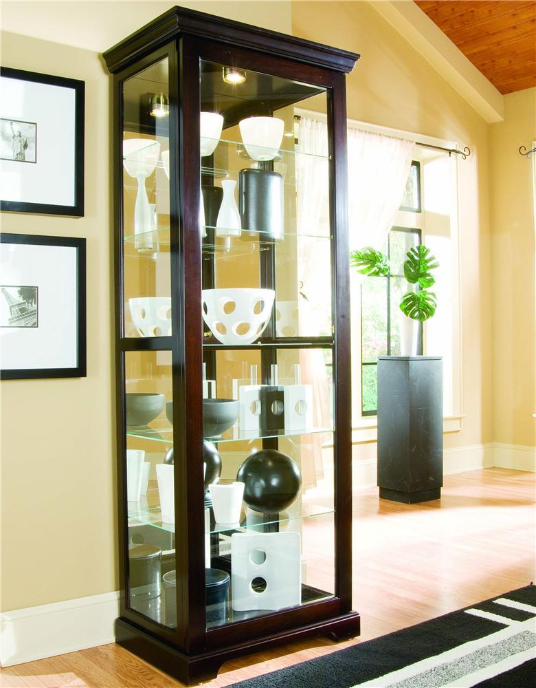 Pulaski Furniture Curios Chocolate Cherry Ii Two Way Sliding Door Curio Wayside Furniture Curio Cabinets