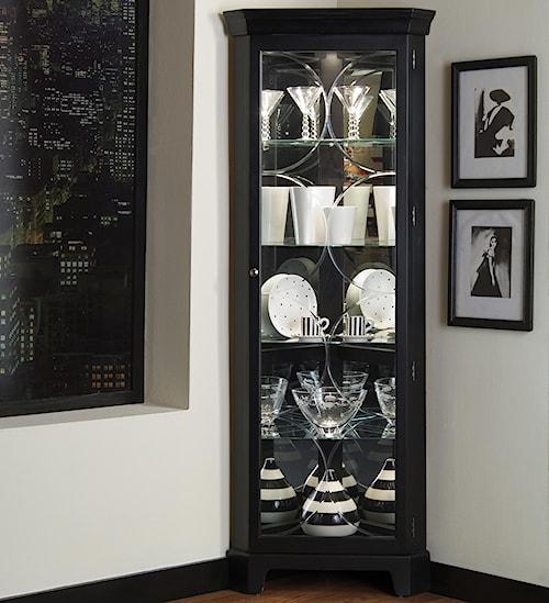 Pulaski Furniture Curios Oxford Black Corner Curio