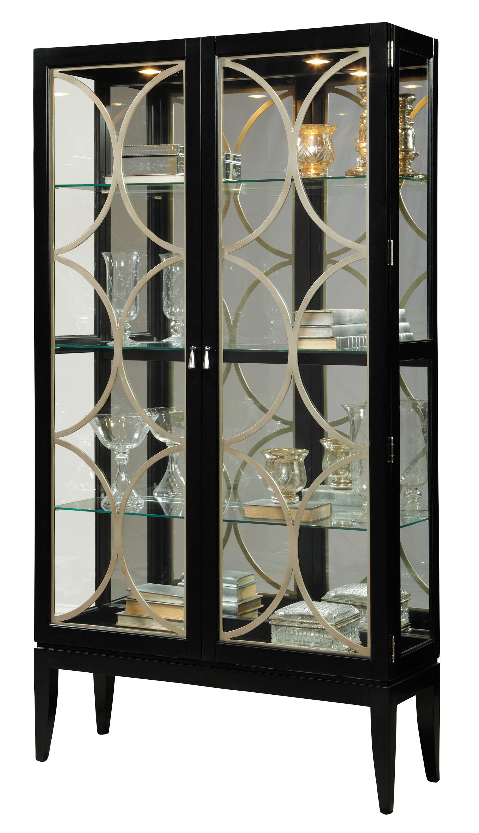 Curios Two Door Curio Cabinet W/ Mirrored Back By Pulaski Furniture