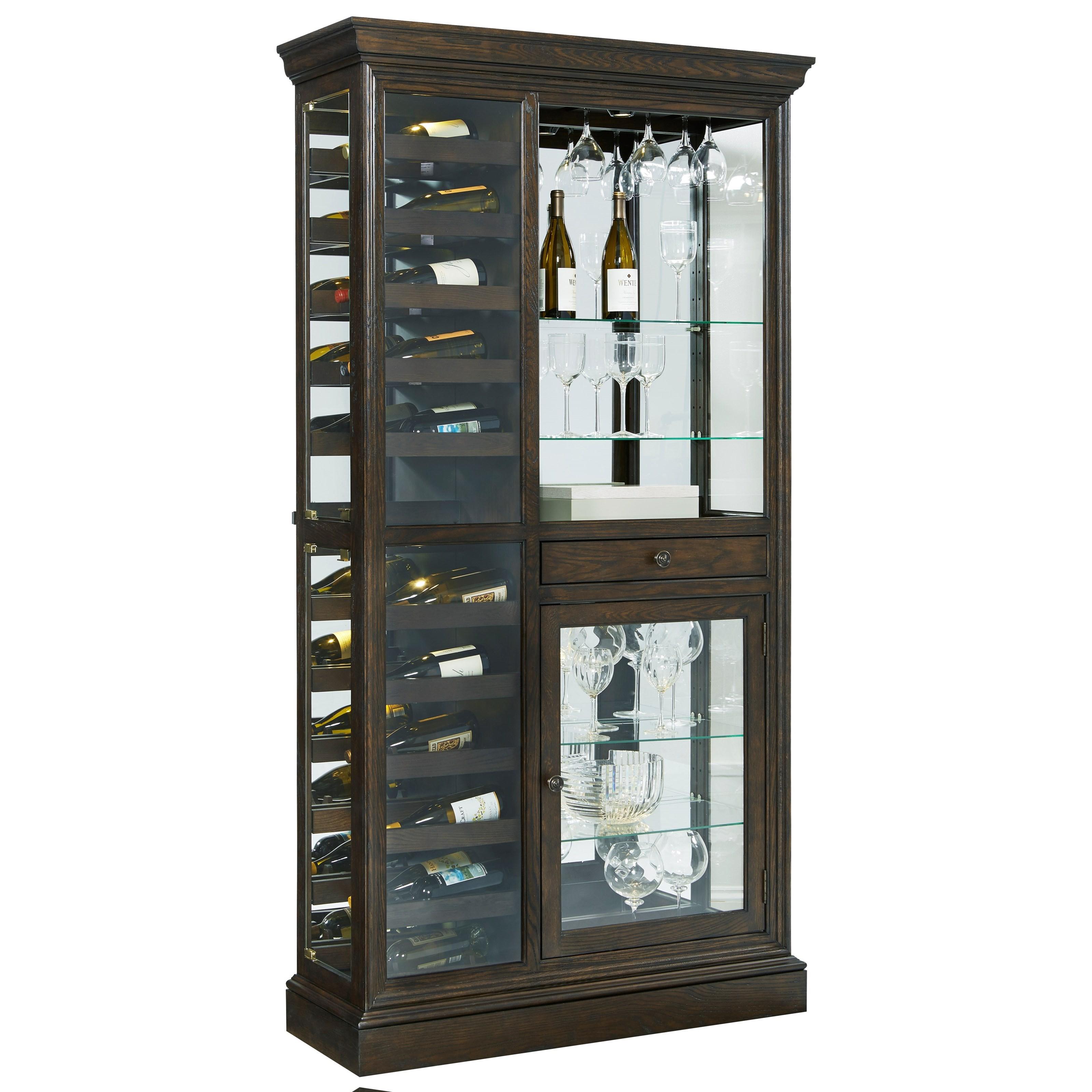 Pulaski Furniture Curios Wine Curio With Touch LED Lighting   Hudsonu0027s  Furniture   Curio Cabinets