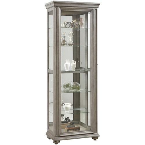 Pulaski Furniture Curios Sliding Front Curio with 5 Shelves in Weathered Grey