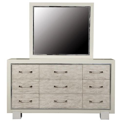 Pulaski Furniture Cydney 9 Drawer Dresser and Beveled Mirror Combo