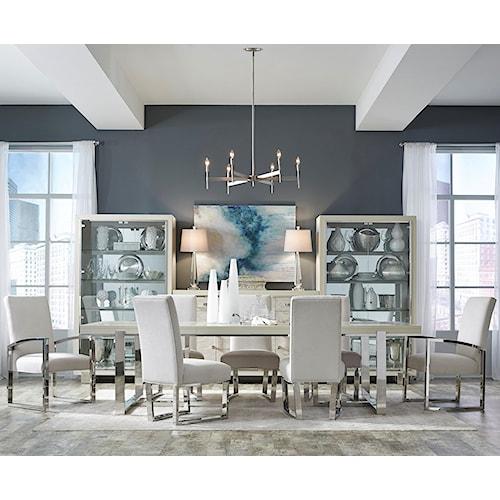 Pulaski Furniture Cydney 7 Piece Double Pedestal Table and Metal Chair Set