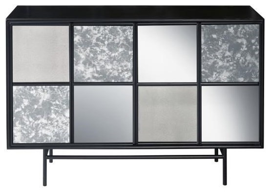 Mirrored Panel Four Door Console