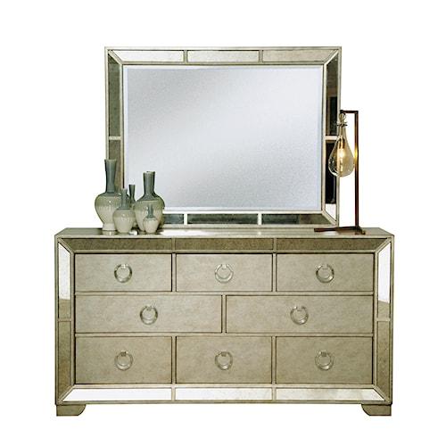 Pulaski Furniture Farrah Eight Drawer Dresser & Beveled Mirror Set