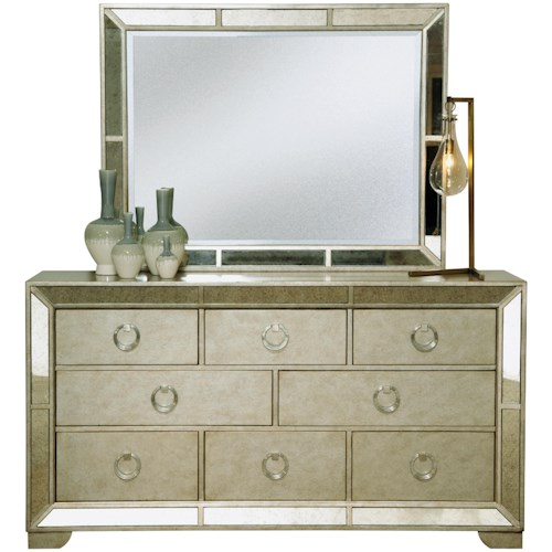 Pulaski Furniture Farrah Eight Drawer Dresser & Beveled Mirror Set