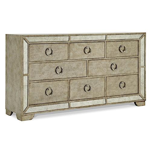 Pulaski Furniture Farrah Platnum 8 Drawer Dresser w/ Ring Pulls