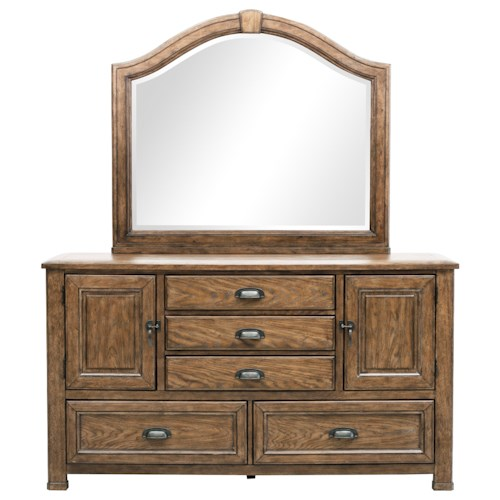 Pulaski Furniture Heartland Falls 5 Drawer Dresser and Arched Top Mirror Combo