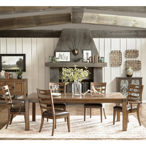 Pulaski Furniture Heartland Falls 7 Piece Leg Table and Ladder Back Chair Set