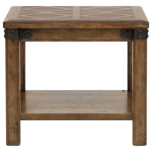 Pulaski Furniture Heartland Falls End Table with Stationary Bottom Shelf