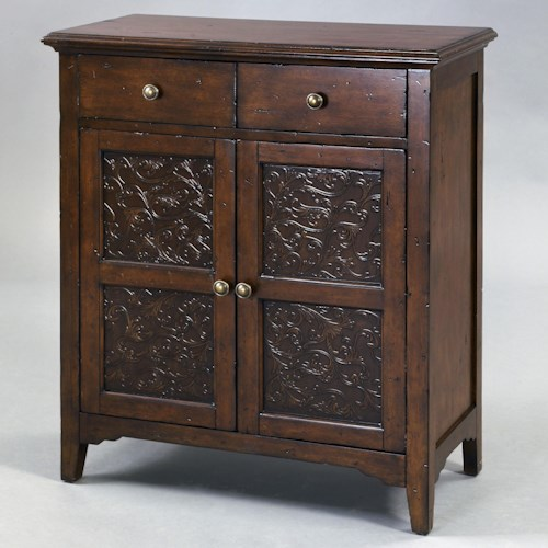 Pulaski Furniture Accents Smiley Accent Cabinet with Two Drawers with Faux Worked Metal Front