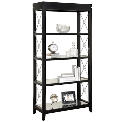 Pulaski Furniture Accents Trenton Finish Etagere with Mirrored Shelves and Decorative Metal X Side Bracing