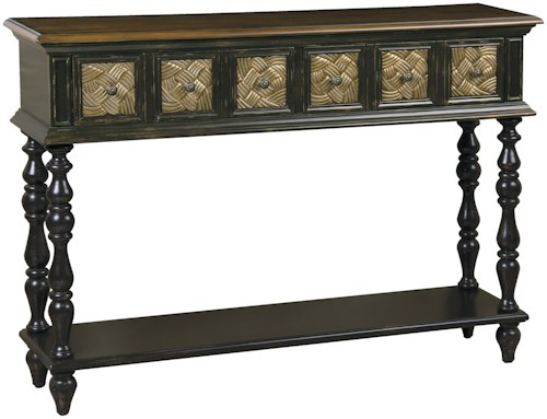 Pulaski Furniture Accents Mariah Finish Wood Console Table with Two Gilded Decorative Inset Drawers