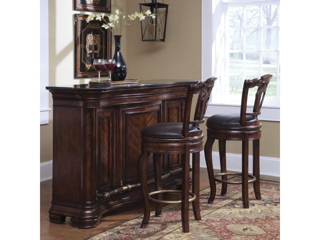 Pair of barstools shown with coordinating bar