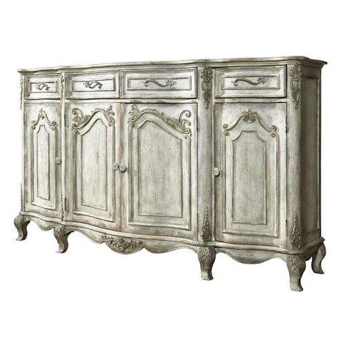 Pulaski Furniture Accents Traditional Credenza w/ Floral Motifs
