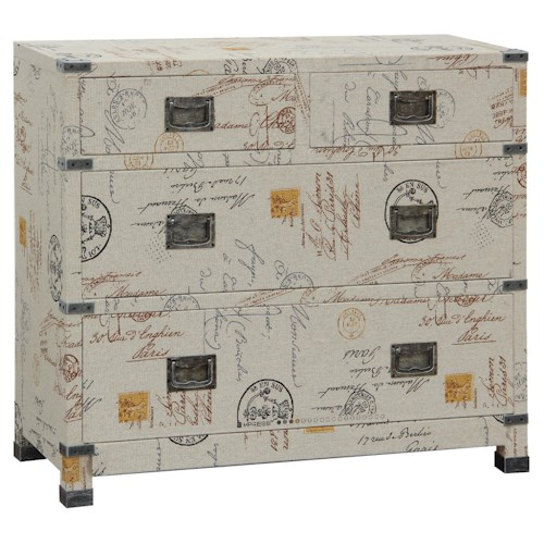 Pulaski Furniture Accents Kingston Finish Chest with Four Drawers and Gun-Metal Handles