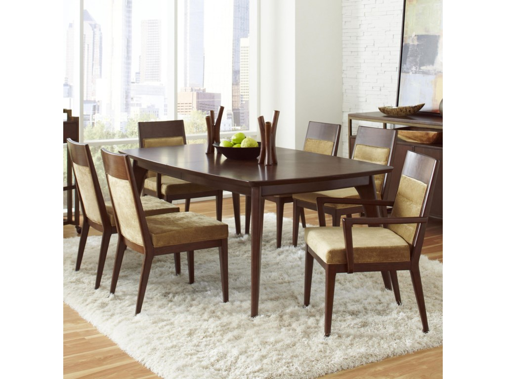 Pulaski Furniture Modern Harmony 7 Pc Dining Table Set W Uphostered Chairs
