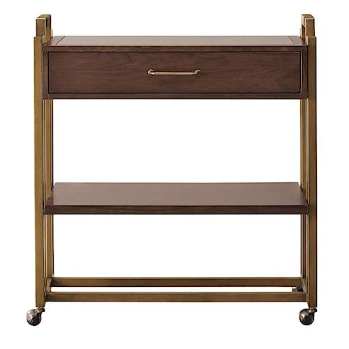 Pulaski Furniture Modern Harmony Mid-Century Modern Serving Cart w/ Casters