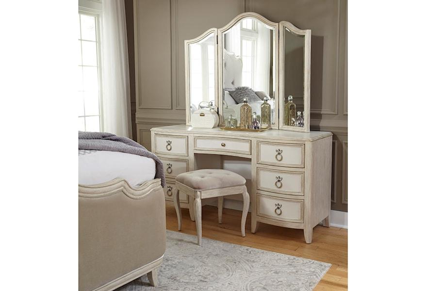 Pulaski Furniture Reece Glamorous 7 Drawer Vanity And Mirror Set