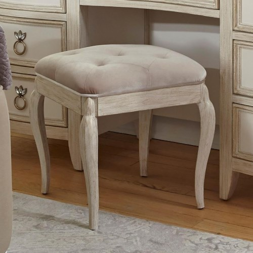 Pulaski Furniture Reece Upholstered Vanity Stool with Cabriole Legs