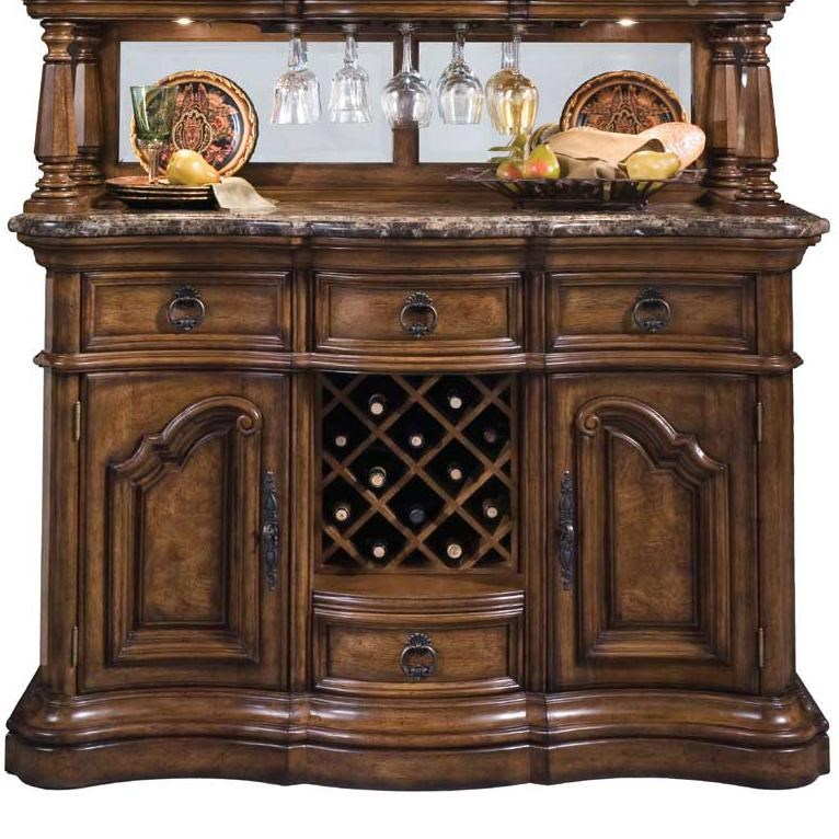 Pulaski Furniture San Mateo Four Drawer Marble Top Sideboard Buffet