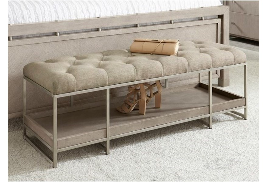 Pulaski Furniture Sutton Place Contemporary Upholstered Bed Bench With Tray Shelf Fashion Furniture Upholstered Benches